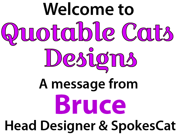 Welcome to Quotable Cats Designs - A message from Bruce, Head Designer and SpokesCat